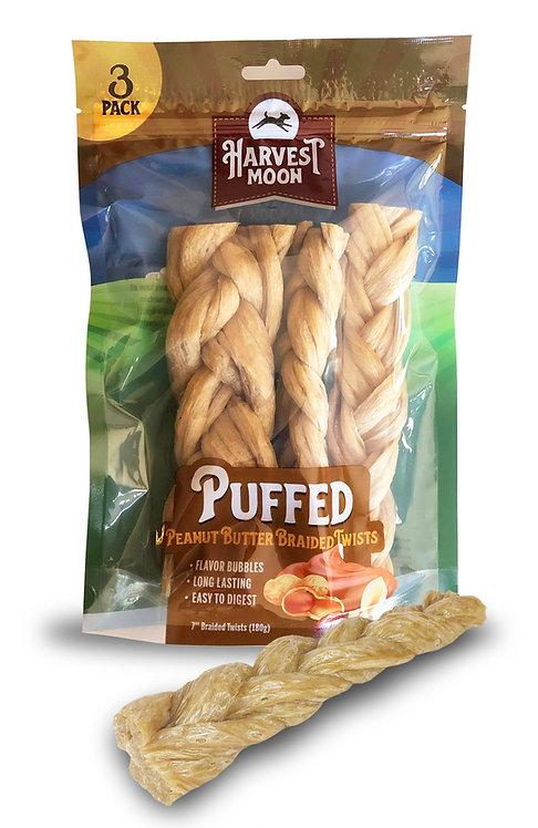 """#01546 Puffed 7"""" Braided Twist Peanut Butter - 4 pcs"""