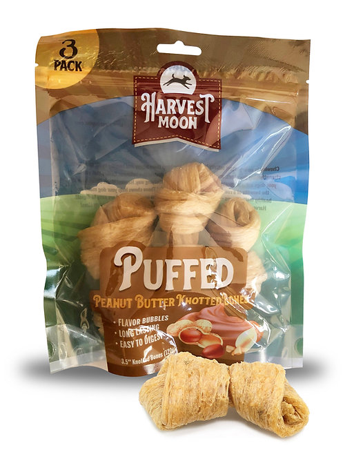 Harvest Moon Puffed Knotted Bone Peanut Butter - 3PCS