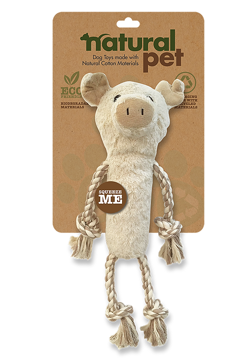 #01282 Plush Dog Toys with Rope Asst - Pig