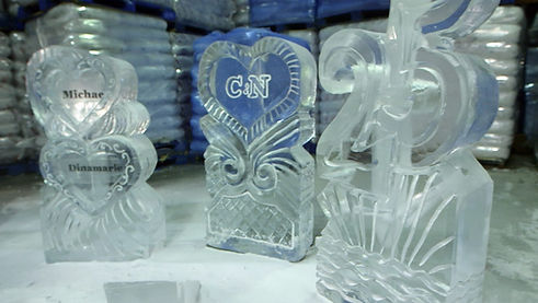 "Three of Kevin O'Malley's ice sculptures that lie in the ""dead ice zone"" after events were cancelled due to COVID-19"