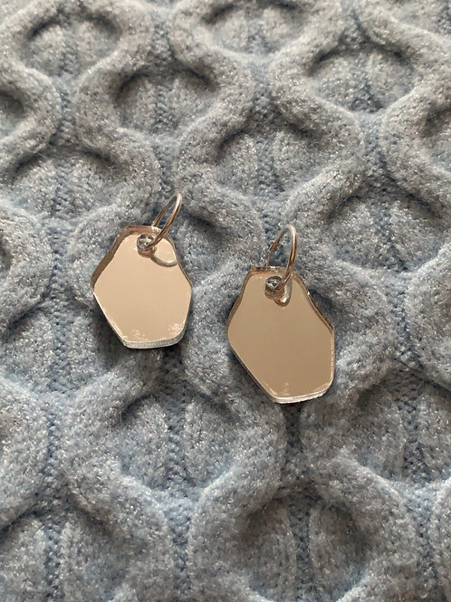 Silver Up-cycled Mirror Earrings