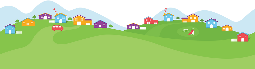 Background illustration of rolling green fields dotted with houses