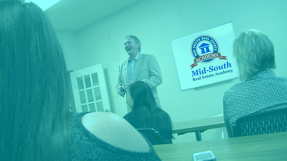 Background image of classroom with Keith Montgomery and the Mid-South Academy Logo