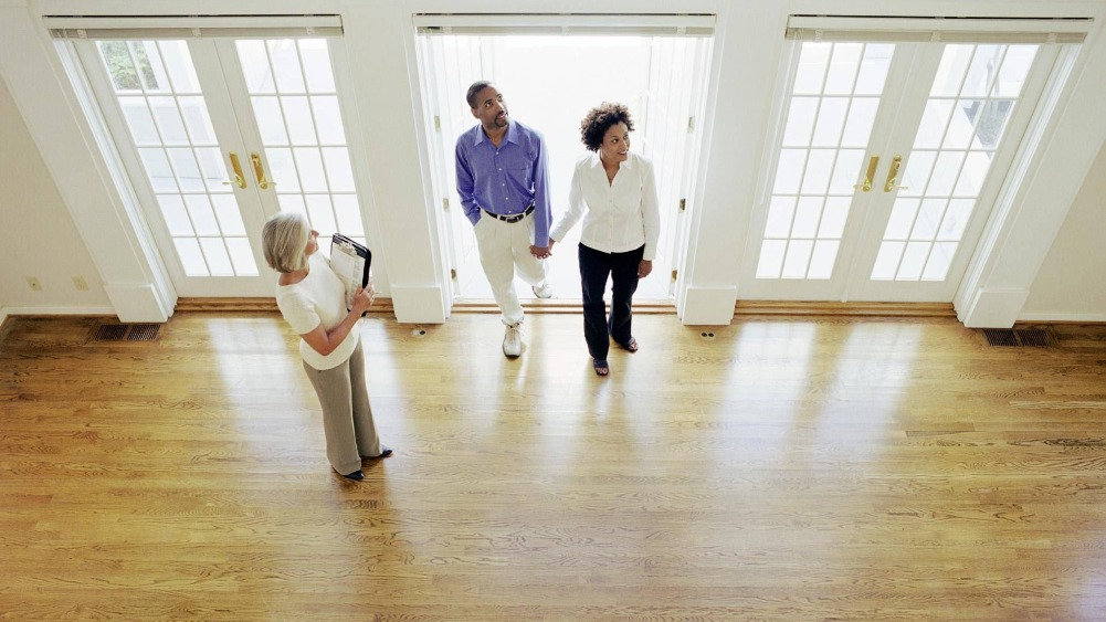 Real Estate Agent showing home to couple.