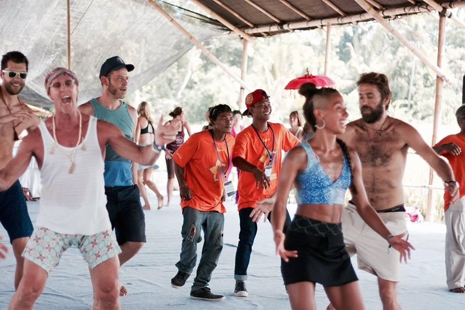 Men practicing african dance