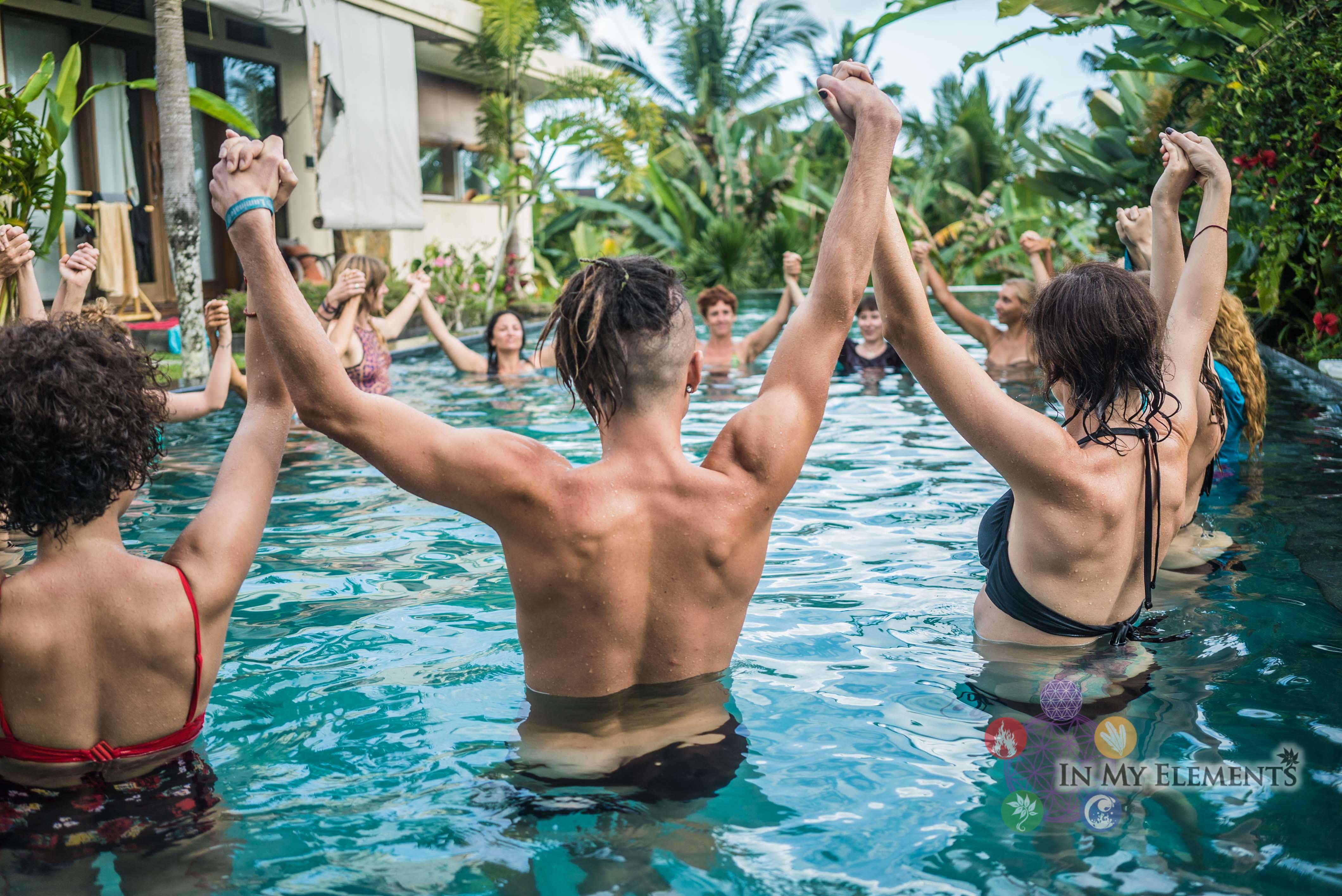 Ecstatic dancing In the pool