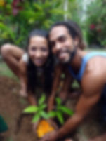 Couple planting tree in Bali