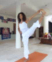 Malaika Darville doing yoga.