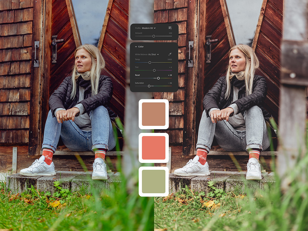 Before and after Color Adjustments with Values