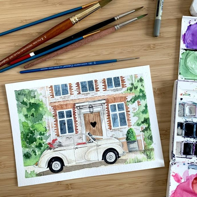 Watercolour car and house painting