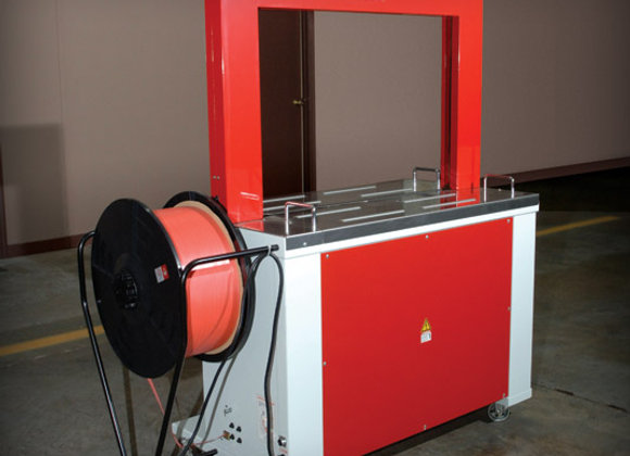 "Strapping Machine, Semi-Automatic, 110 Volt, Set for 1/2"" Strap"