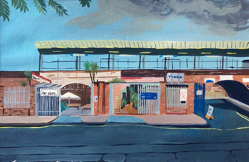 Painting by Lucy Russell-Bates showing the front of Y-oga Store and Bar Story on Blenheim Grove in Peckham