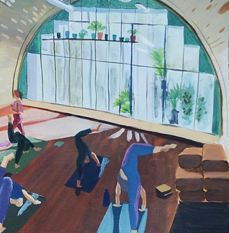 Painting by Lucy Russell-Bates of a class in action in our yoga studio at Y-oga Store Peckham