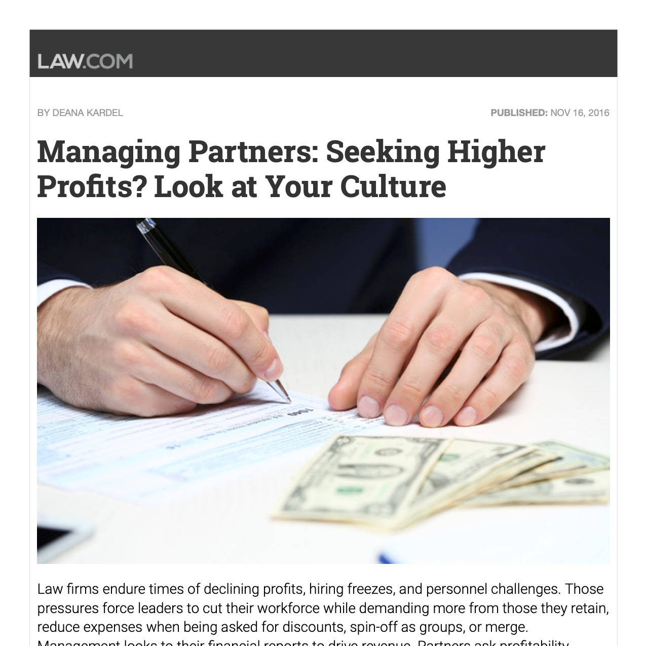 """Managing Partners Seeking Higher Profits? Look at Your Culture"""