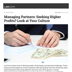 """""""Managing Partners Seeking Higher Profits? Look at Your Culture"""""""