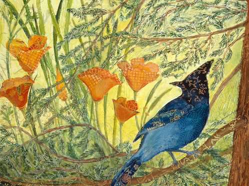 Stellar View (Steller's Jay), highest quality Giclée reproduction