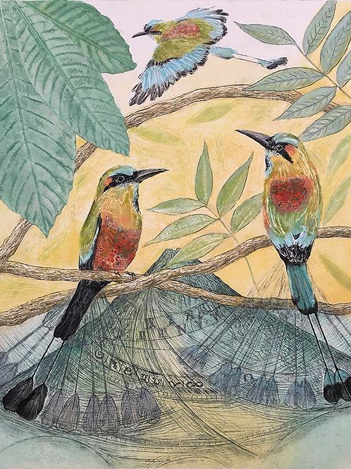 Clock Birds I - Turquoise-Browed Motmots