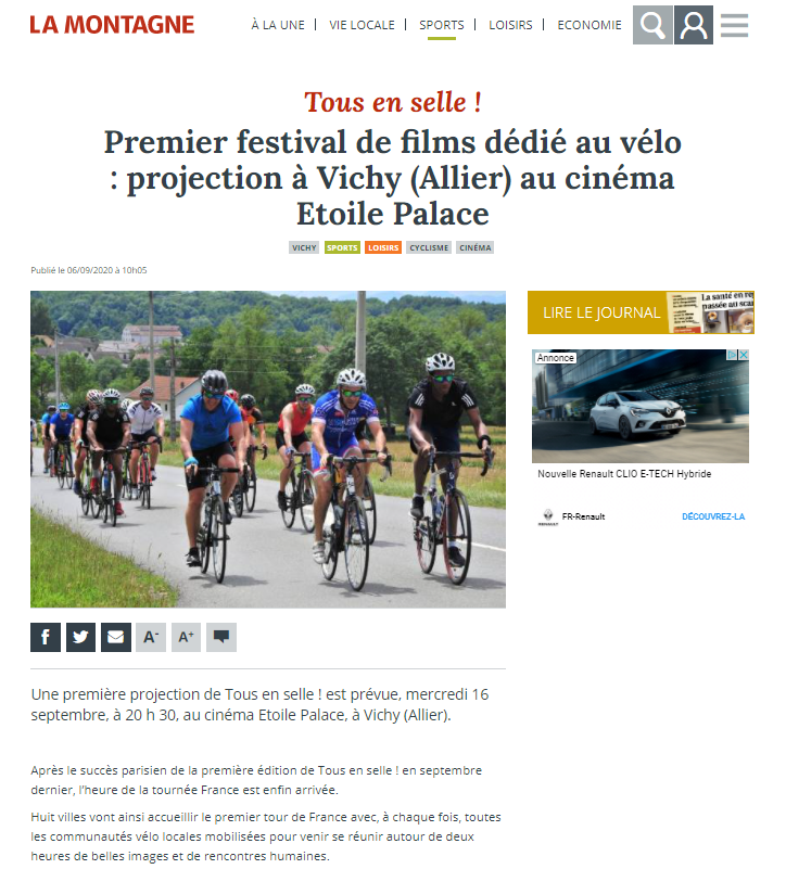 Article La Montagne - Septembre 2020