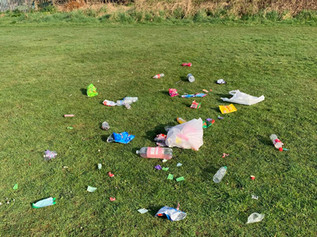 Litter and mess left behind after yesterday's sunny day