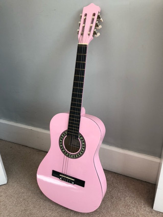 SOLD - Small pink guitar for sale