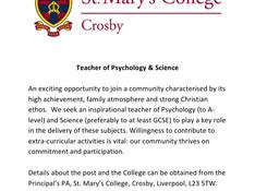 Vacancy- Teacher of Psychology & Science