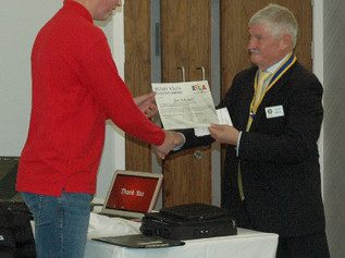 Formby Rotary Club award Joe his RYLA award