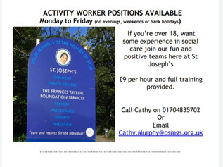 Activity worker vacancy with St Josephs