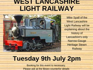 Formby Library's next monthly talk in July is about West Lancashire light Railway