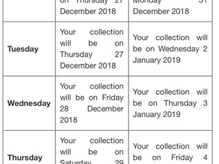 Bin collection days over the festive period