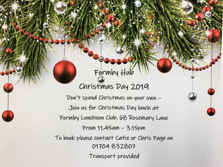Don't spend Christmas Day on your own - spend it with the Formby Hub and enjoy a Christmas dinne