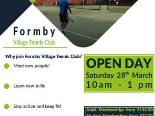 Open Day at Formby Village Tennis Club on Saturday 28th March