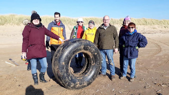 Huge amounts of rubbish and an aeroplane tyre among what was collected at today's beach clean