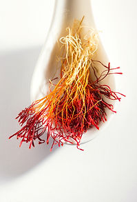 Bright red and orange color saffron in w