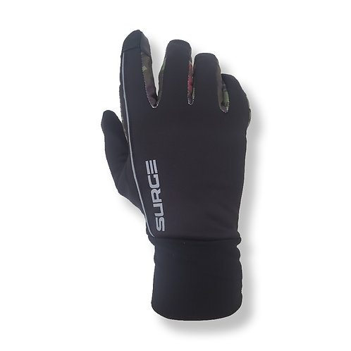 SURGE Winter Running Gloves - Black/Green Camo