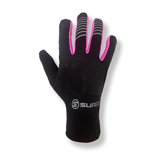 SURGE Performance Running Gloves - Black/Neon Pink
