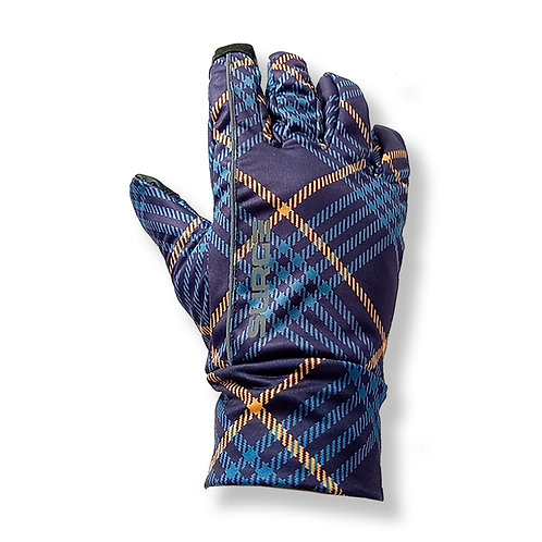 SURGE Winter Running Gloves - Navy/Orange Tartan