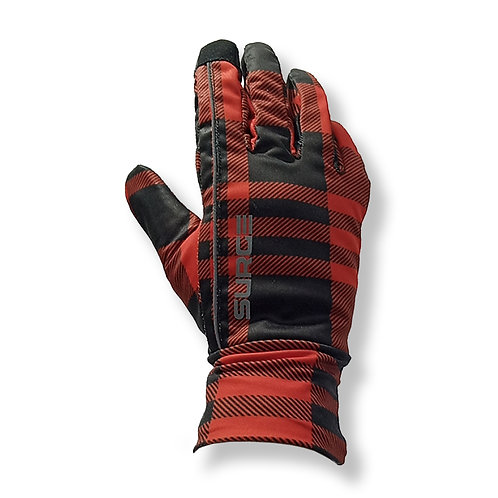 SURGE Winter Running Gloves - Red Plaid