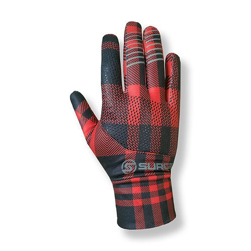 SURGE Performance Running Gloves - Red Plaid