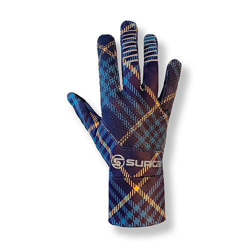 SURGE Performance Running Gloves - Navy/Orange Plaid