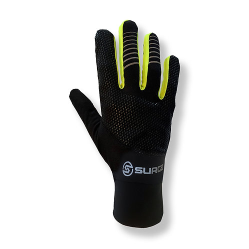SURGE Performance Running Gloves - Black/Neon Yellow
