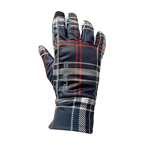 SURGE Winter Running Gloves - Navy/Red Plaid