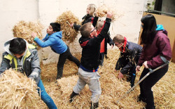 children playing in the straw
