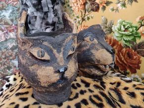 Feline fantasies, ceramic planters, 2019