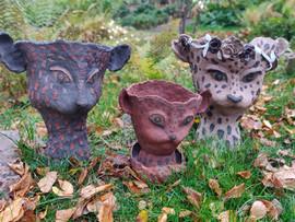 Cat gang, stoneware planters, 2020