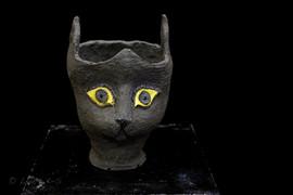 Feline Fantasies, ceramic planter, SOLD