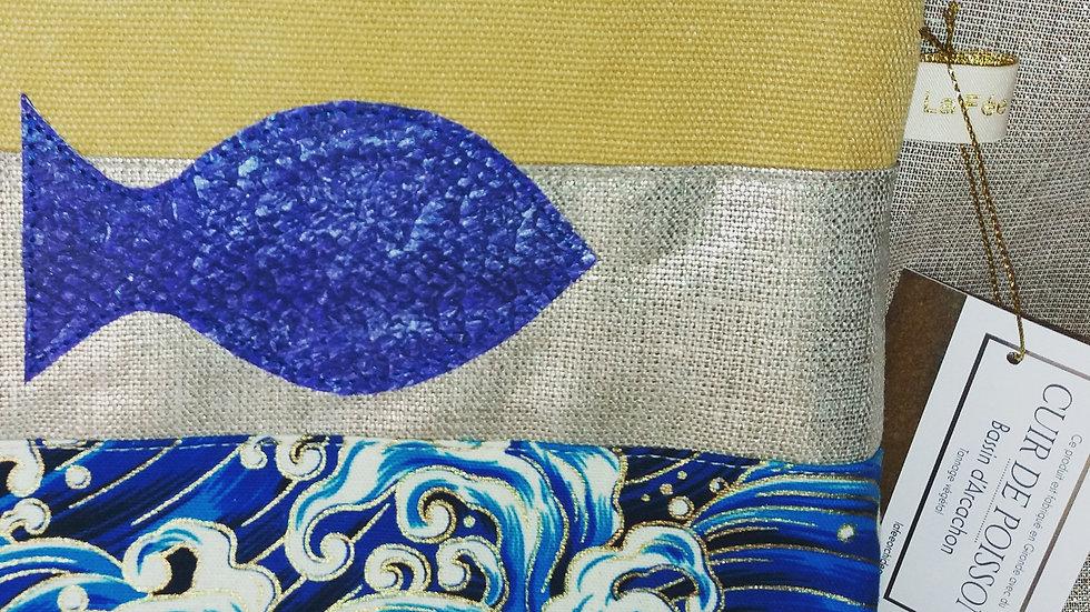 trousse en coton japonais, lin doré et cuir de poisson