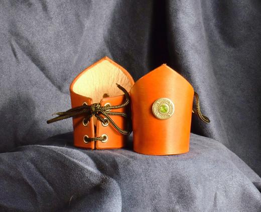 Orange V-Cuffs w Green Stone