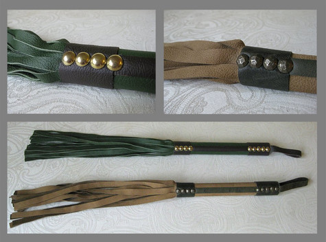 Wooden Handle Leather Wrapped Floggers