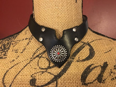 Black Necklace with Red Center