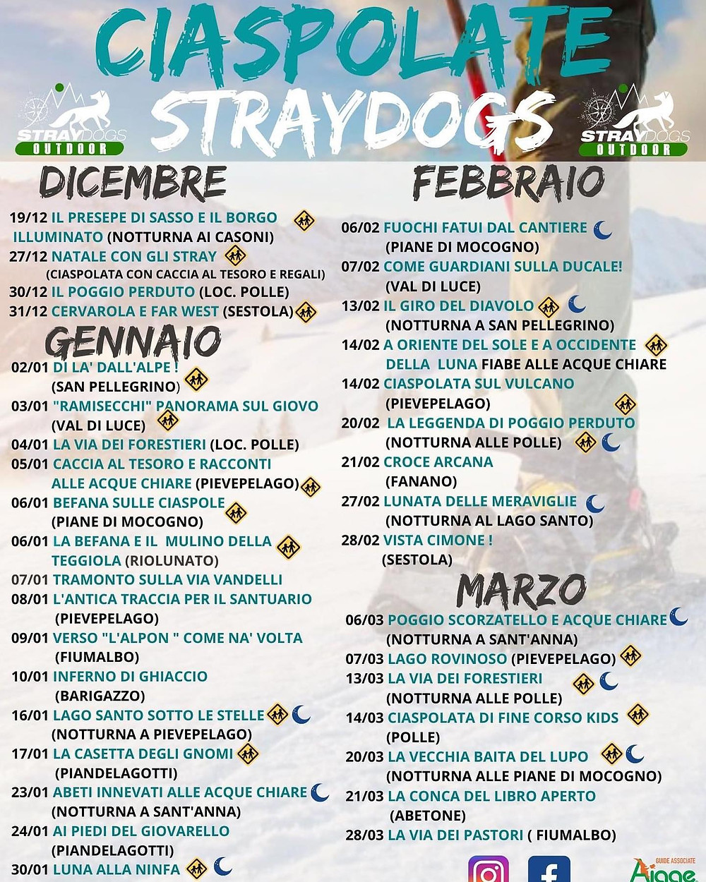 calendario ciaspolate Straydogs cimone sestola